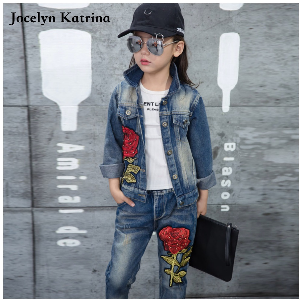 Jocelyn Katrina Children clothes baby girls jeans sets child set fashion cowboy jacket spring autumn kids clothes set 5-15 years 2016 autumn and spring new girl fashion cowboy short jacket bust skirt two suits for2 7 years old children clothes set
