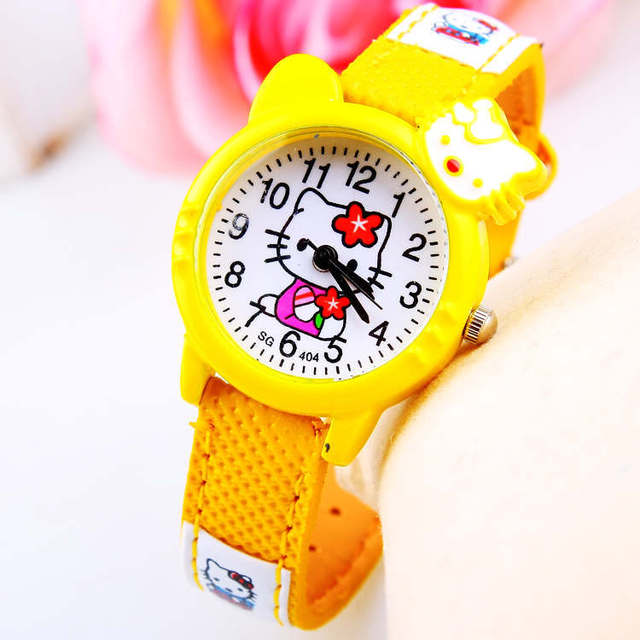 2018 Fashion Cute KT Cat Kids Watch Wristwatches for Women Jelly color Hello kitty Beautiful Children Cartoon Watches Girls
