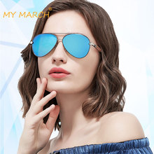 MYMARCH Fashion Pilot Sunglasses Women Brand Designer Sun Glasses Wooden Frame Alloy Mirror Oculos De Sol UV400
