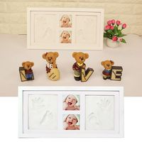 DIY Kids Handprint Footprint Pictures Display Wood Photo Frame Souvenirs Commemorate Growing Memory Baby Shower Gift Creative