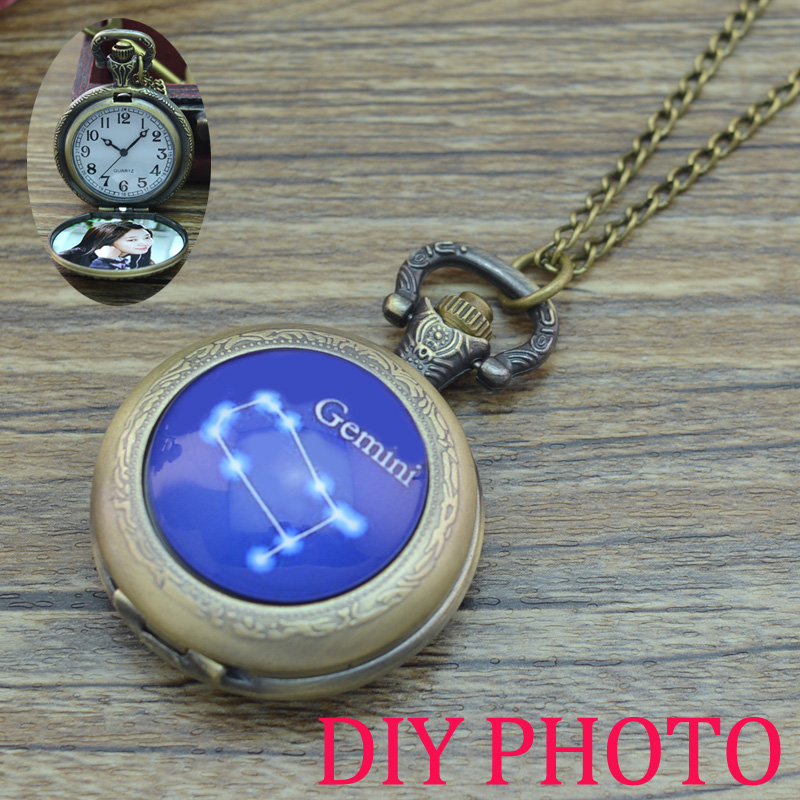 Vintage 12 Constellation design Pocket Watch Necklace Pendant Quartz Watch 12 Zodiac bronze fob watches custom personal picture