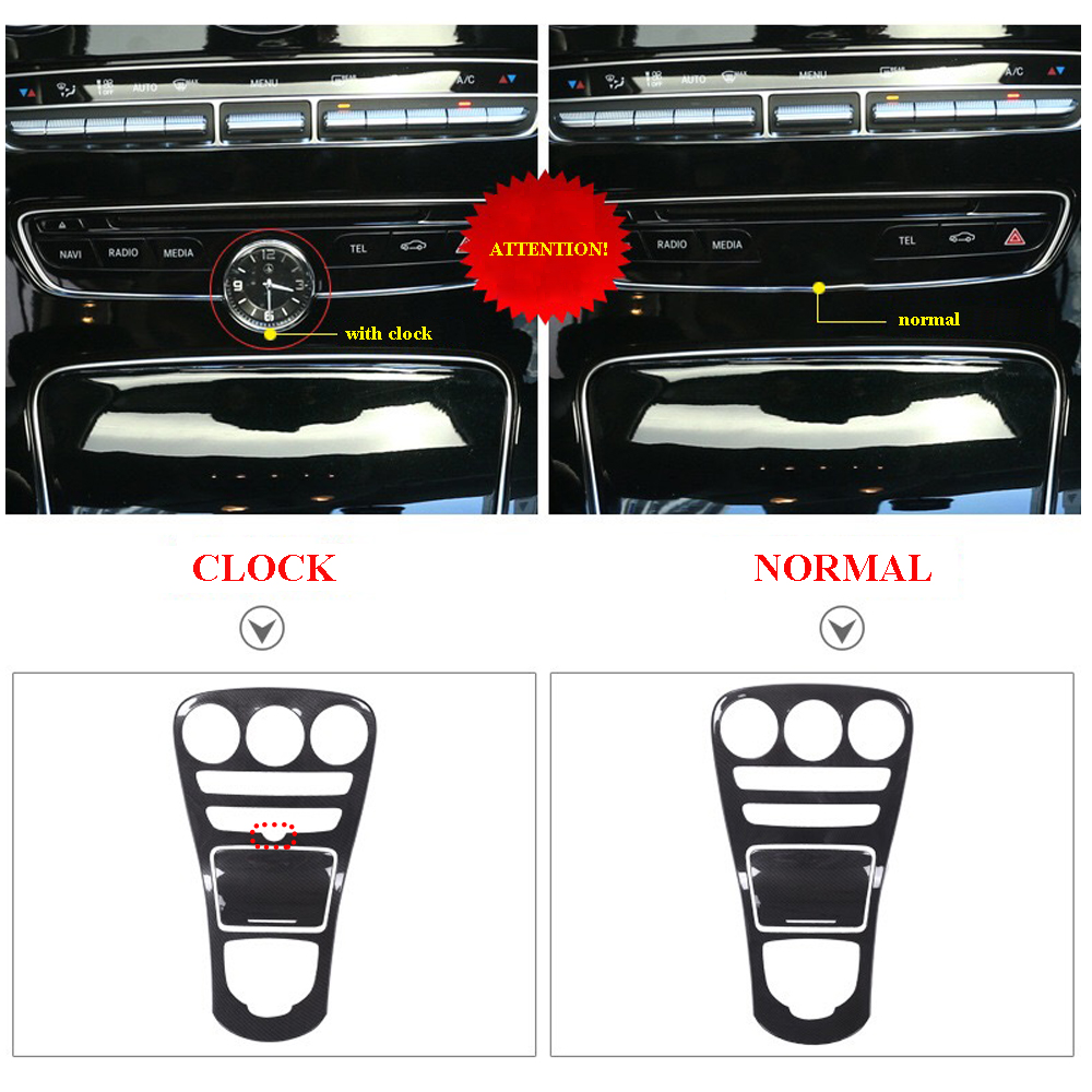 4 Center Console Panel Decoration Cover Trim Carbon fiber color 2pcs for Mercedes Benz C class W205 15-17GLC X253 16-17