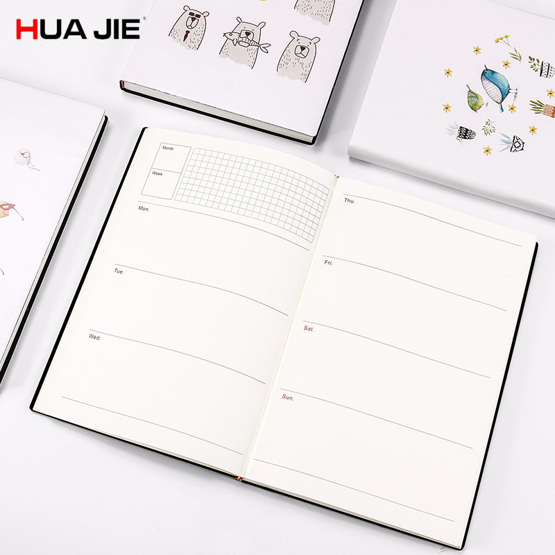 HUA JIE Cute Business Travel Planner Notebook A5 Work Plan Schedule Organizers Weekly Monthly Yearly Agenda Journal Soft Folders hua jie 2018 diary agenda planner
