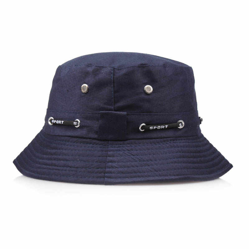 d2b2a29f58f ... Summer Plain Bucket Hats Men Women Classic Caps Autumn Spring Fisherman  Panama Cotton Double Layer Fabric ...