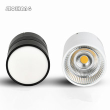 Surface Mounted White Black Ceiling Downlight COB 15W 20W 30W AC85-265V lamp COB Led downlights Ceiling Spot light +led driver