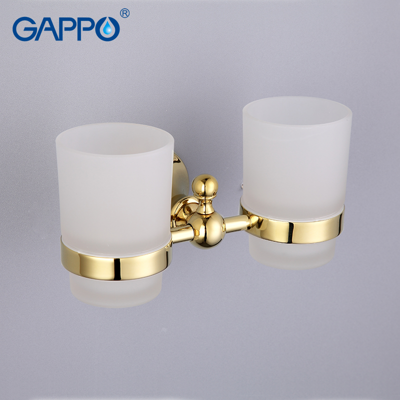 GAPPO 1 set Zinc alloy cup holder Glass cups Wall-mount Double Toothbrush Tooth cup holder Bathroom Accessories GA1408 bathroom accessories toothbrush holder chrome brass cup&tumbler holder wall mounted double glass cup holder zr2671