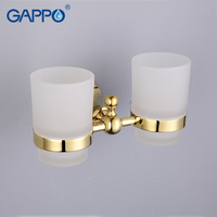 GAPPO 1 Set Zinc Alloy Cup Holder Glass Cups Wall Mount Double Toothbrush Tooth Cup Holder
