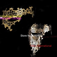 Black Gold Silver White Phantom Man Woman Venetian Mask Masquerade Metal Couple Masks Skull Face Half