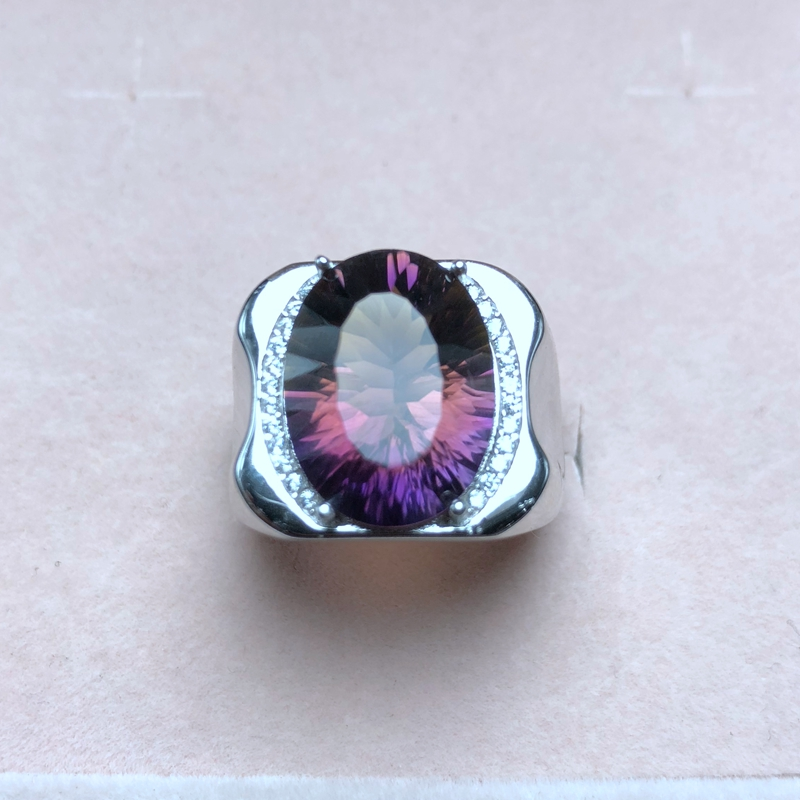 In-kind shooting, natural ametrine ring, beautiful color, two-color fire, 925 silver, mens ring,In-kind shooting, natural ametrine ring, beautiful color, two-color fire, 925 silver, mens ring,
