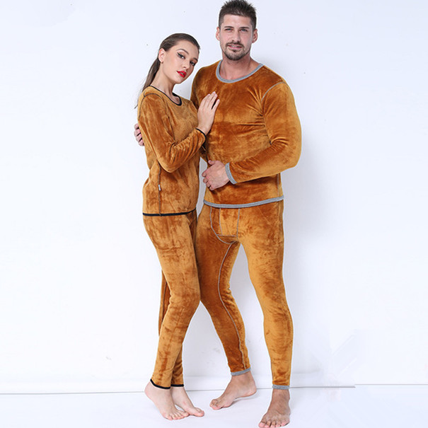 Winter Couple Warm Thermal Underwear Set For Women Men Clothing Cashmere Velvet Thick Fleece Thermal Long Johns Plus Size XXXL(China)