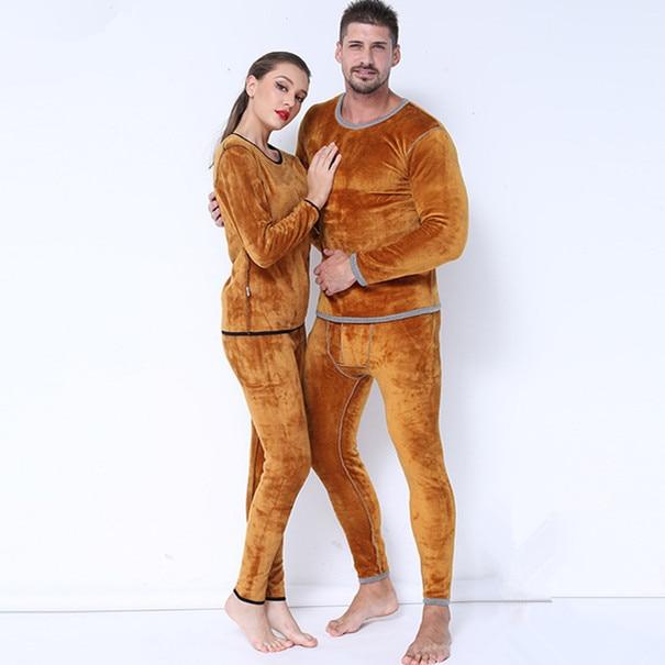 Winter Couple Warm Thermal Underwear Set For Women Men Clothing Cashmere Velvet Thick Fleece Thermal Long Johns Plus Size XXXL in Long Johns from Underwear Sleepwears