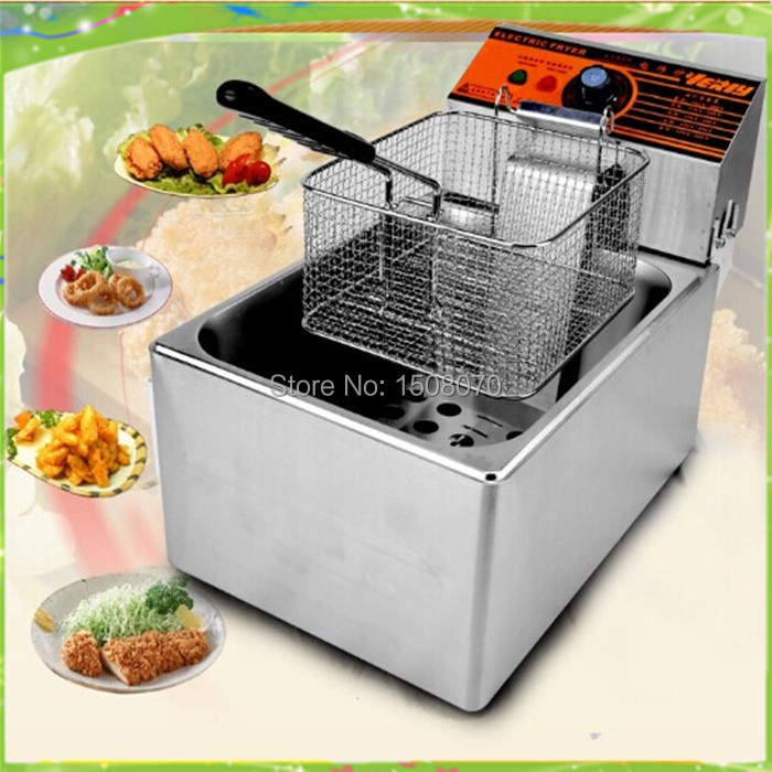 free shipping 220v electric deep fryer frying pan frying machine stainless steel electrical  fryer air fryer without large capacity electric frying pan frying pan machine intelligent deep electric fryer