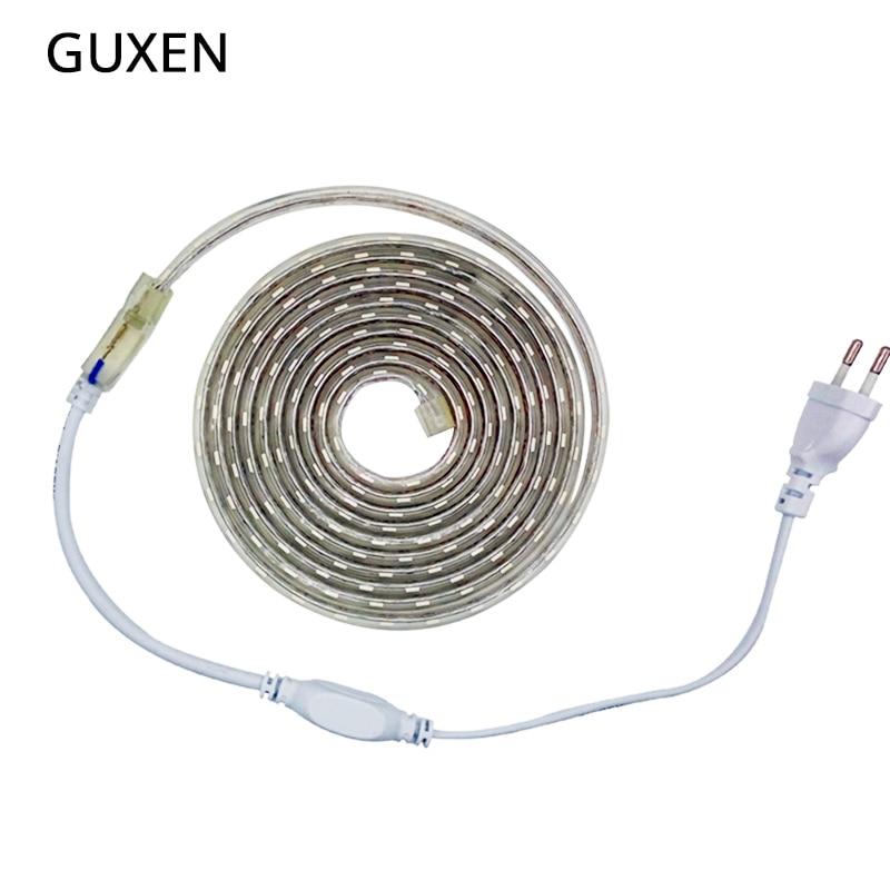 GUXEN LED Strip Flexible Light SMD 5050 AC220V 60leds/m IP67 Waterproof LED Light With Power EU Plug Warm White/cold White