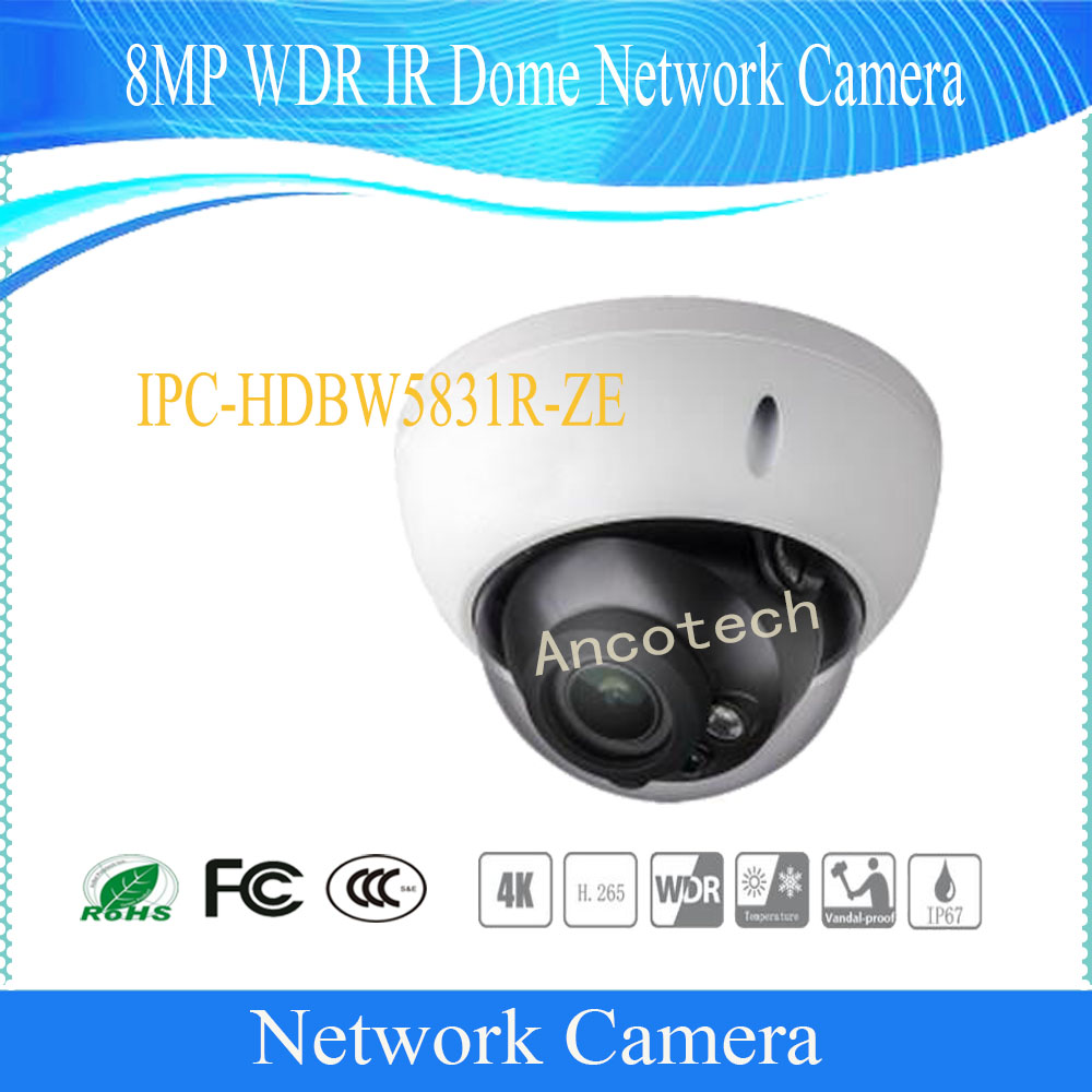 Free Shipping DAHUA CCTV IP Camera 8MP WDR IR Dome Network Camera with POE IP67 IK10 Without Logo IPC-HDBW5831R-ZE