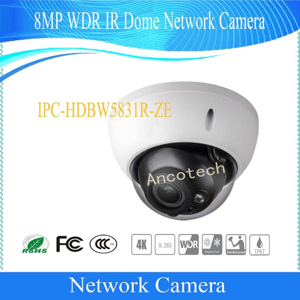 Livraison Gratuite DAHUA CCTV IP Caméra 8MP WDR IR Dôme caméra réseau avec POE IP67 IK10 Avec Logo DH-IPC-HDBW5831R-ZE