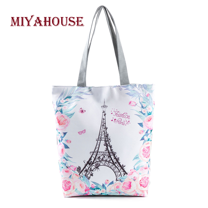 Lovely Floral Design Beach Bags Women Soft Canvas Tote Bag For Female Tower Printing Single Shoulder Shopping Bags
