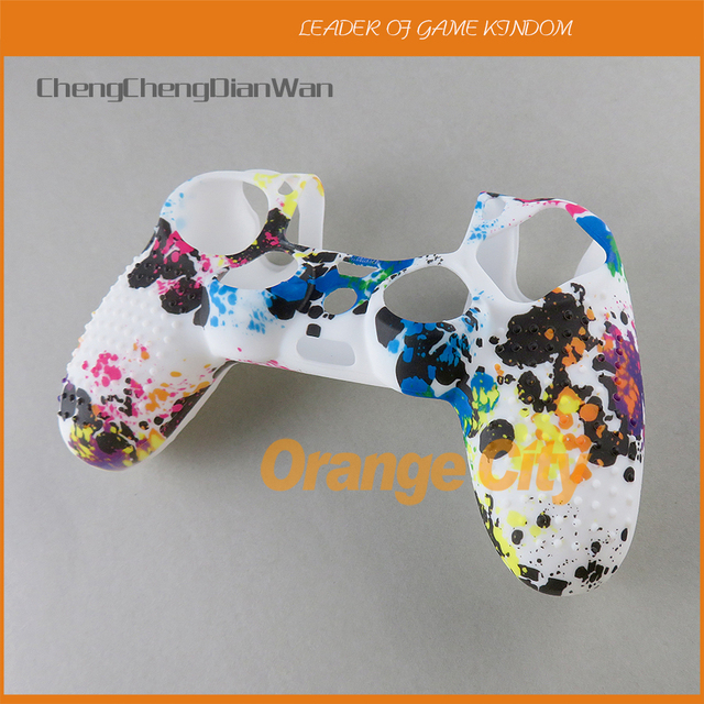 Protetor graffiti silicone gel de borracha luva macia capa para dualshock 4 playstation 4 ps4 pro controlador fino