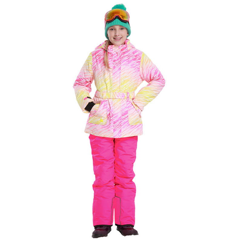 Mioge 2017 Sport suit for girls Winter Thickening Waterproof Ski Suit Children Sets Warm Snowboarding Coat/Jacket+Romper Pants