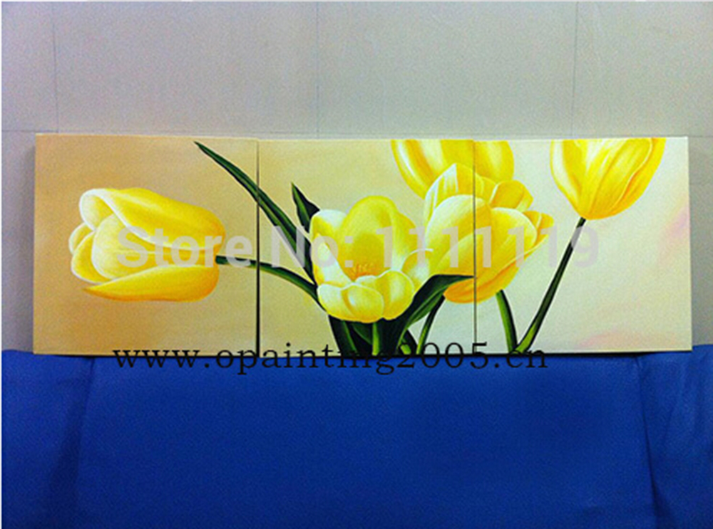 Hand Painted Yellow and Purple Tulip Flower Oil Painting on Canvas ...