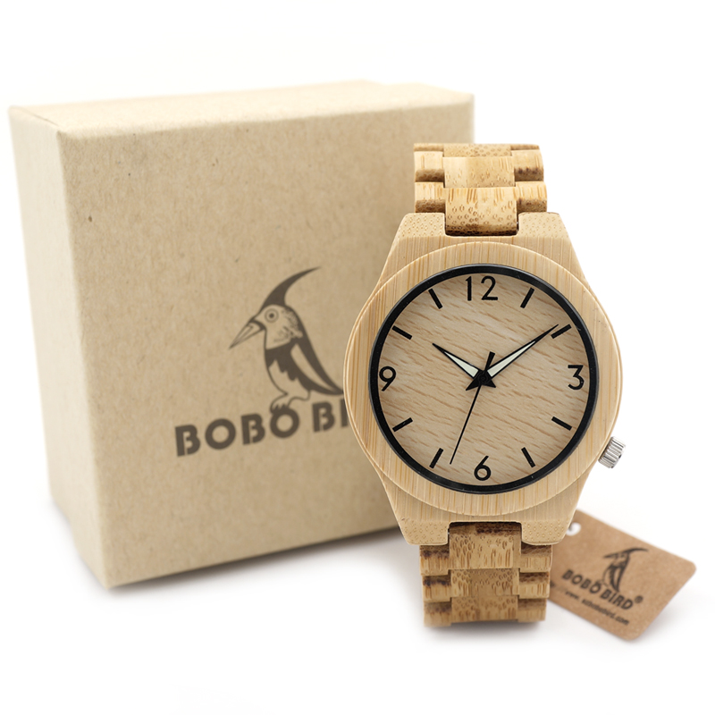 BOBO BIRD D27 Full Bamboo Wooden Watch for Men Top Brand Luxury Quartz Wooden Band Luminous Needle Wrist Watches in Gift Box ...