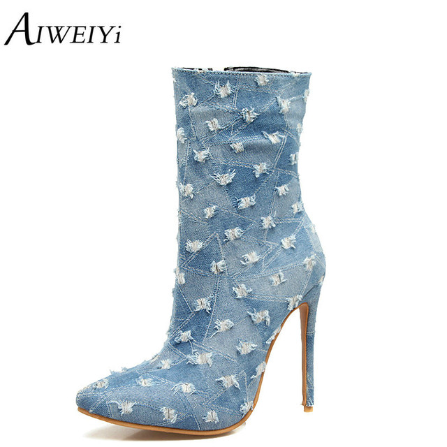 1fec21c4e201 AIWEIYi Sexy High Heels Ankle Boots Denim Platform Boots 2018 Winter New  Style Sexy Women s Fashion Ankle Boots Short Booties