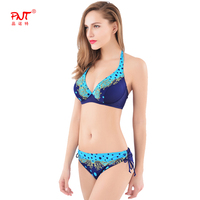 Retro Plus Size Print Underwire Bikini 2 Color Swimwear Low Waist Women Bikini Bandage Neck Swim