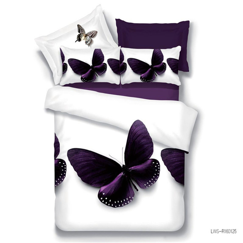 Her Side His Side Lenzuola.Us 36 01 35 Off Best Wensd Promotion Quality Purple Butterfly Comforter Sets 3d White Bedding Bed Comforter Bed Sheet Home Goods Western Decor In