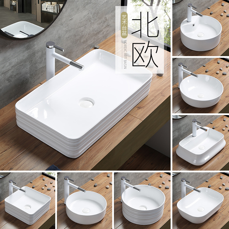 Modern Ceramic Toilet Washbasin Square Basin Simple Black Bathroom Countertop Sinks With Pull Out Faucet European Art Home Basin