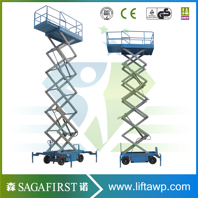 8m 500kg Sinofirt Hydraulic Electric Scissor Lift Cart With Rising Platform For Aerial Operator