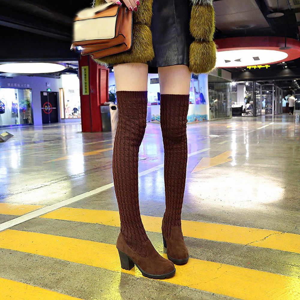 2bf2695d7 Las mujeres calcetines botas fuerza elástica zapatos punta redonda zapatos  antideslizante por encima de la rodilla
