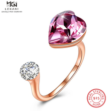 LEKANI Crystals From Swarovski Rings 925 Ladies New Heart Ring Womens Adjustable Gift Boutique Jewelry Engagement