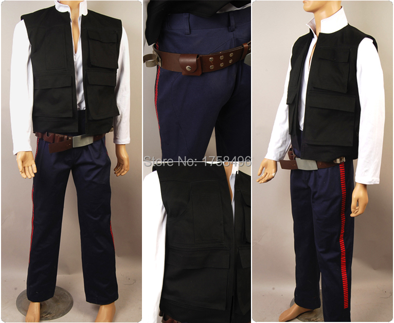 Star Wars ANH A New Hope Han Solo Costume Vest Shirt Pants Outfit Movie Cosplay Costume Full Set Halloween Party Free Shipping
