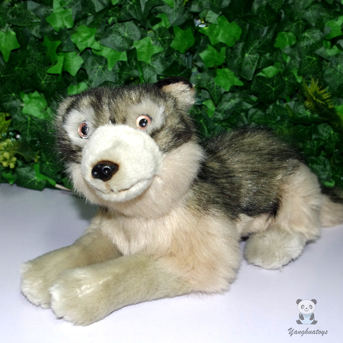 все цены на Plush Toy Children Gifts Pillow Simulation Animals Minnesota Dolls Toys Lying Wolf Doll