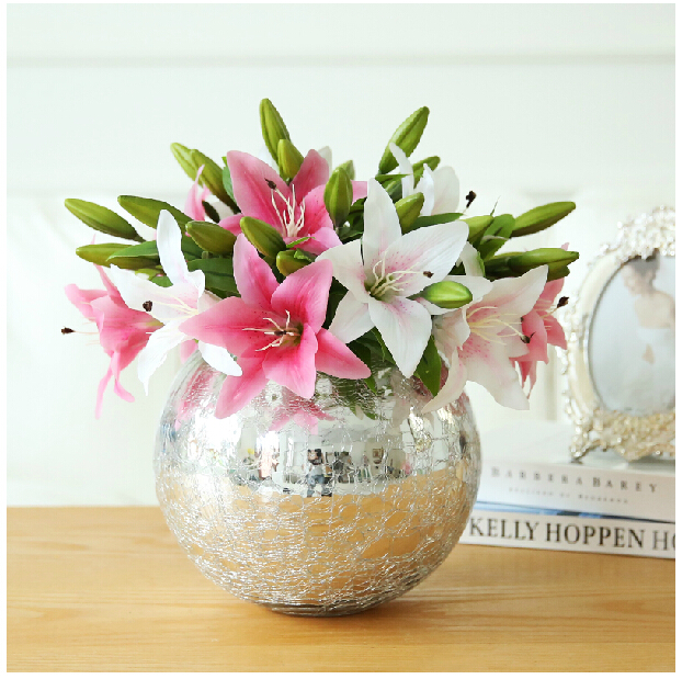 10pcslot 3 heads pink plastic lily real touch flower artificial 10pcslot 3 heads pink plastic lily real touch flower artificial flowers lily wedding flower party high quality free shipping in artificial dried flowers mightylinksfo