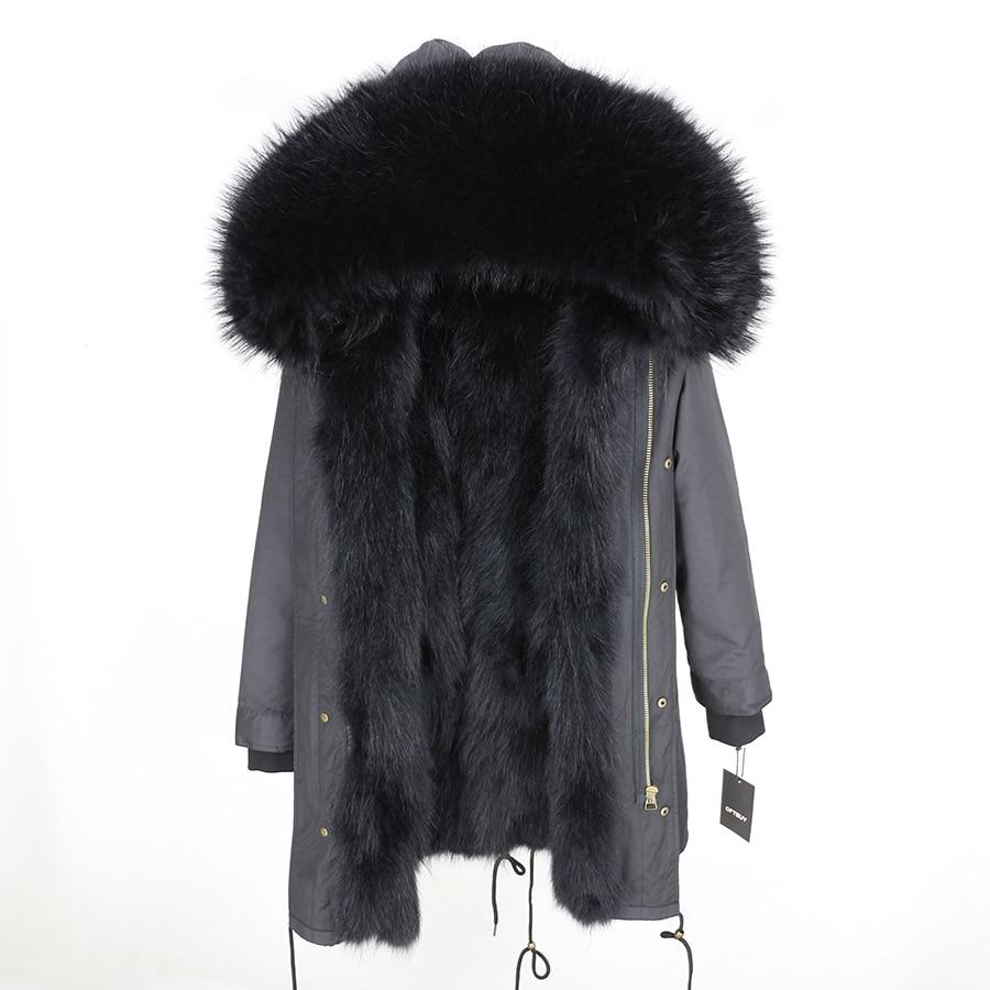 2019 Real Fur Coat Winter Jacket Women Long Parka Waterproof Big Natural Raccoon Fur Collar Hood Thick Warm Real Fox Fur Liner 137