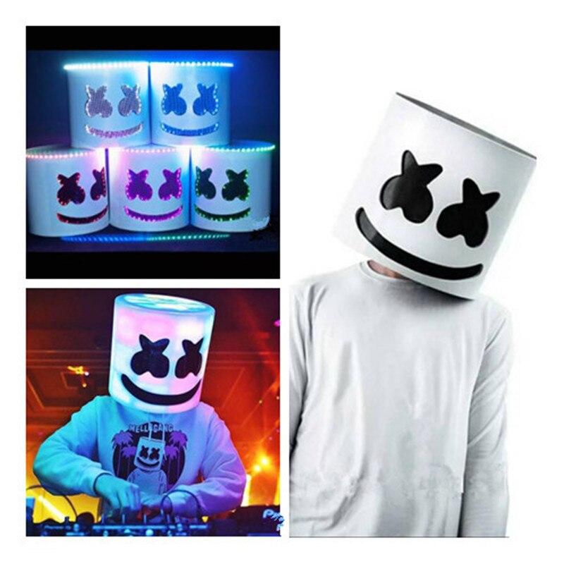 Spun sugar Dj Marshmello Luminous LED Mask Helmet Cosplay Prop Nightclub Electric syllable Hundred DJ Bar Party Rave Equipment