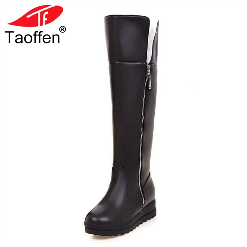 Taoffen Women Winter Knee Boots High Zipper Thick Fur Warm Shoes Women Platform Snow Plush Boots Fashion Shoes Size 34-43 women snow boots large size 35 45 winter boots shoes super warm plush ankle boots women platform winter boat fashion women shoes
