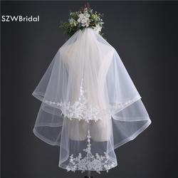 Мода 2 слои короткая свадебная вуаль 2019 вуаль mariage Белый Свадебные аксессуары кружево аппликации вело де novia veu noiva