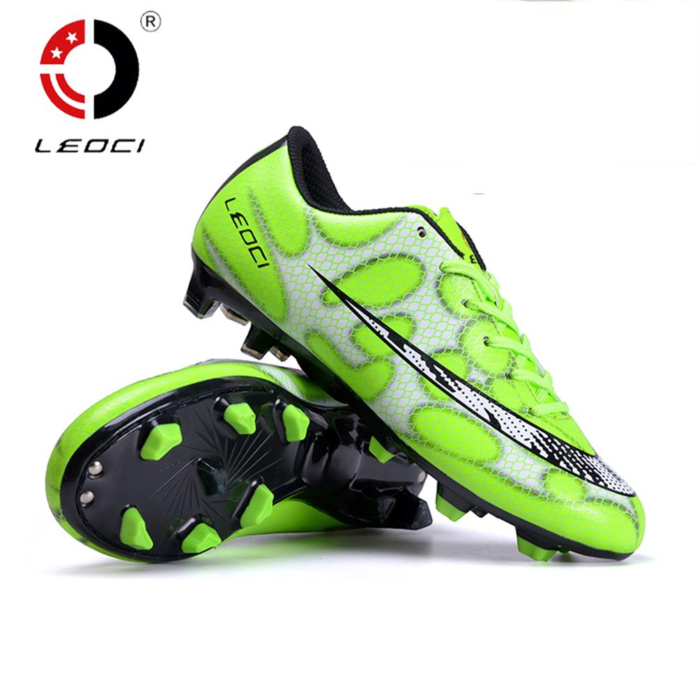 LEOCI TPR EVA PU Wear-Resisting FG Football Shoes Firm Ground Soccer Cleats Boots Fussball Schuhe For Adult Kids Size 33-44 dr eagle original superfly football boots man football shoes with ankle soccer boots footbal shoes sock size 38 45 sneakers