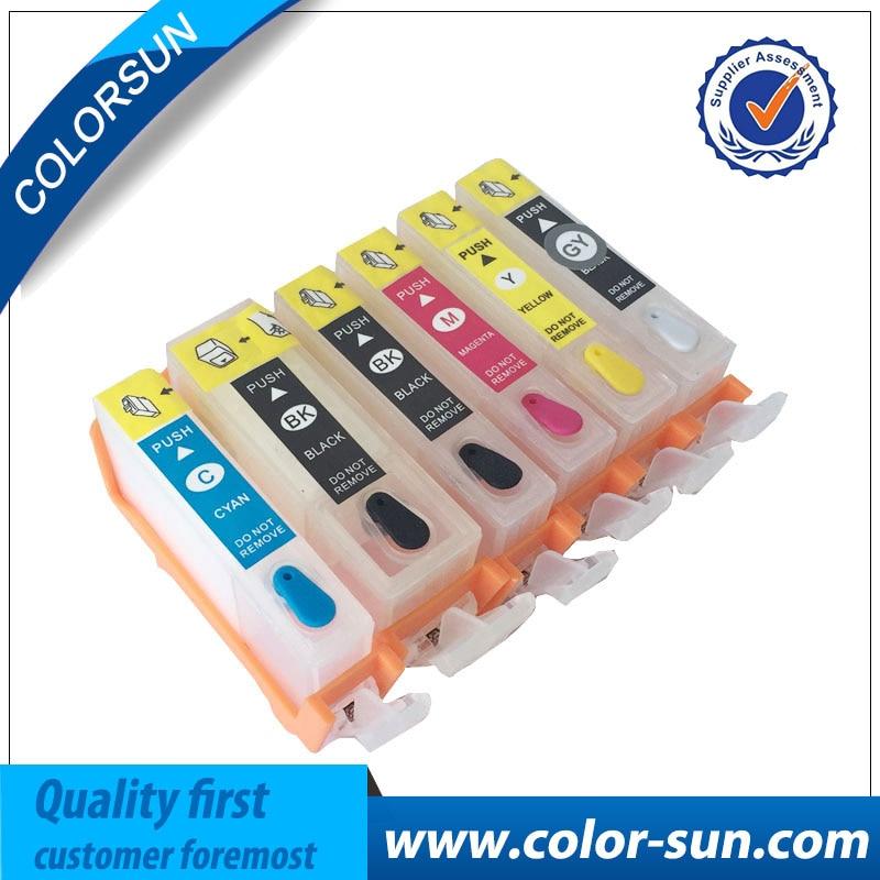 6 colors for Canon Refillable Ink Cartridges PGI225 CLI225 PGI 225 for Canon PIXMA MG8120 MG6120 printer with ARC chips pgi 425 cli 425 refillable ink cartridges for canon pgi425 pixma ip4840 mg5140 ip4940 ix6540 mg5240 mg5340 mx714 mx884 mx894