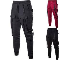 Мужские кожаные пояса Повседневные длинные брюки | 2018 осень Фирменная новинка мужской хип-хоп длинные брюки мужские шаровары бегунов