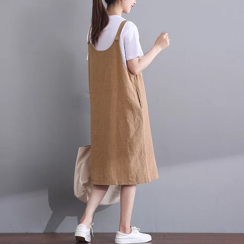 6954bc68e19 Spring and Summer New Korean Women Suspending Dress Loose Plus Size  Sleeveless Dress Mori Girl Casual Dresses Robe Tunique Femme-in Dresses  from Women s ...