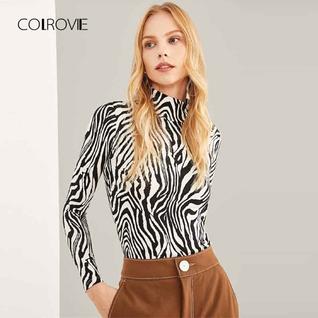 953a27411fe4 COLROVIE Black and White High Neck Zebra Print Long Sleeve Sexy T-Shirt  Women 2018