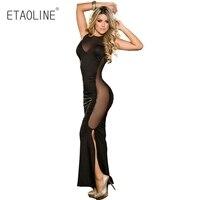 Nova transparente sexy lingerie hot preto exposto vestido longo lacing backless dividir trajes sexy lingerie erótica babydoll R03