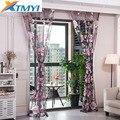Cortina púrpura floral de tul para sala dormitorio o cocina cortina moderna translúcida para ventanas textil para el hogar persianas personalizadas