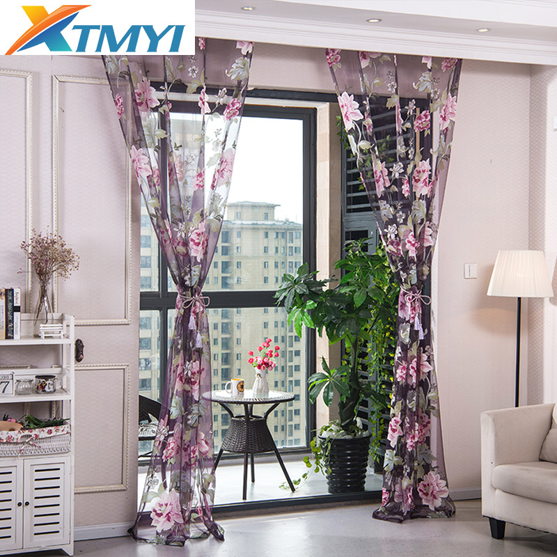 Purple Floral Tulle Curtains For Kitchen Curtains For Living Room Yellow Pink Window Treatments Beaded Door Home  Drapes