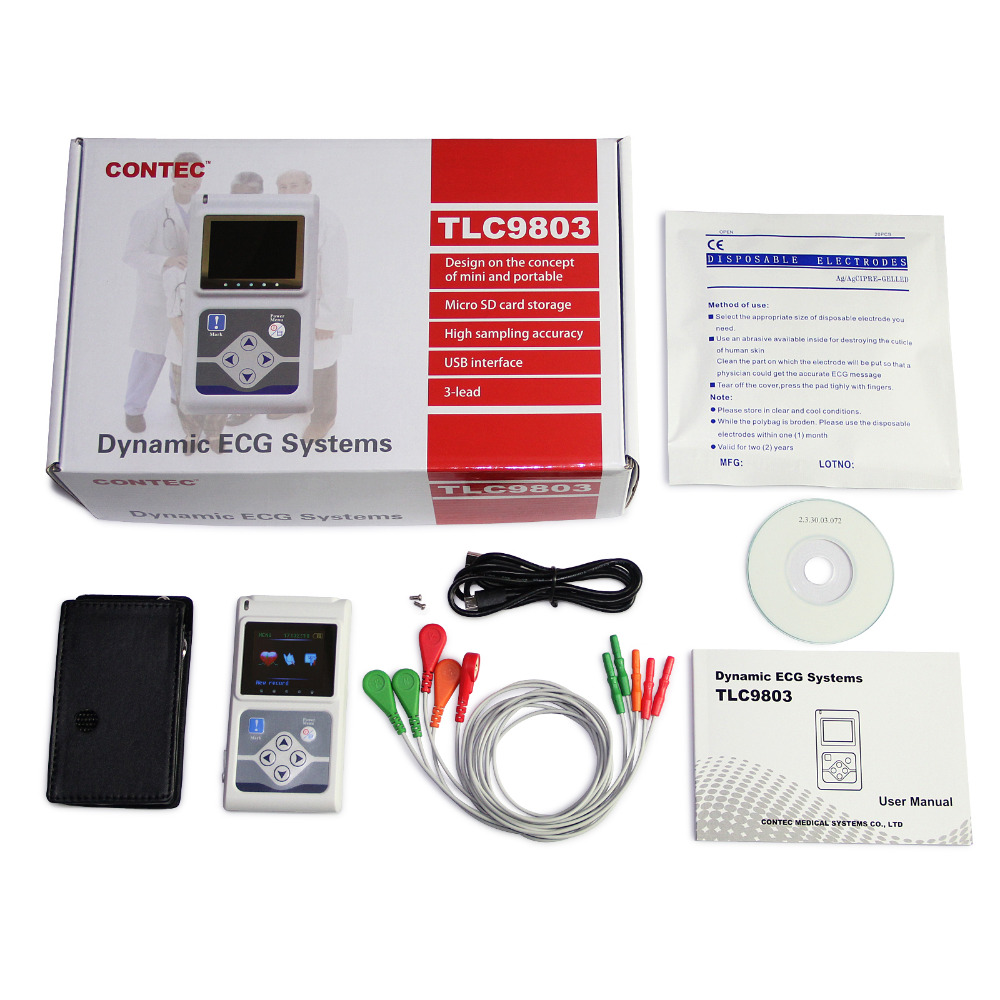 Image 2 - CE approved TLC9803 Handheld 3 Channel ECG/EKG Holter Recorder Monitor System Software-in Blood Pressure from Beauty & Health
