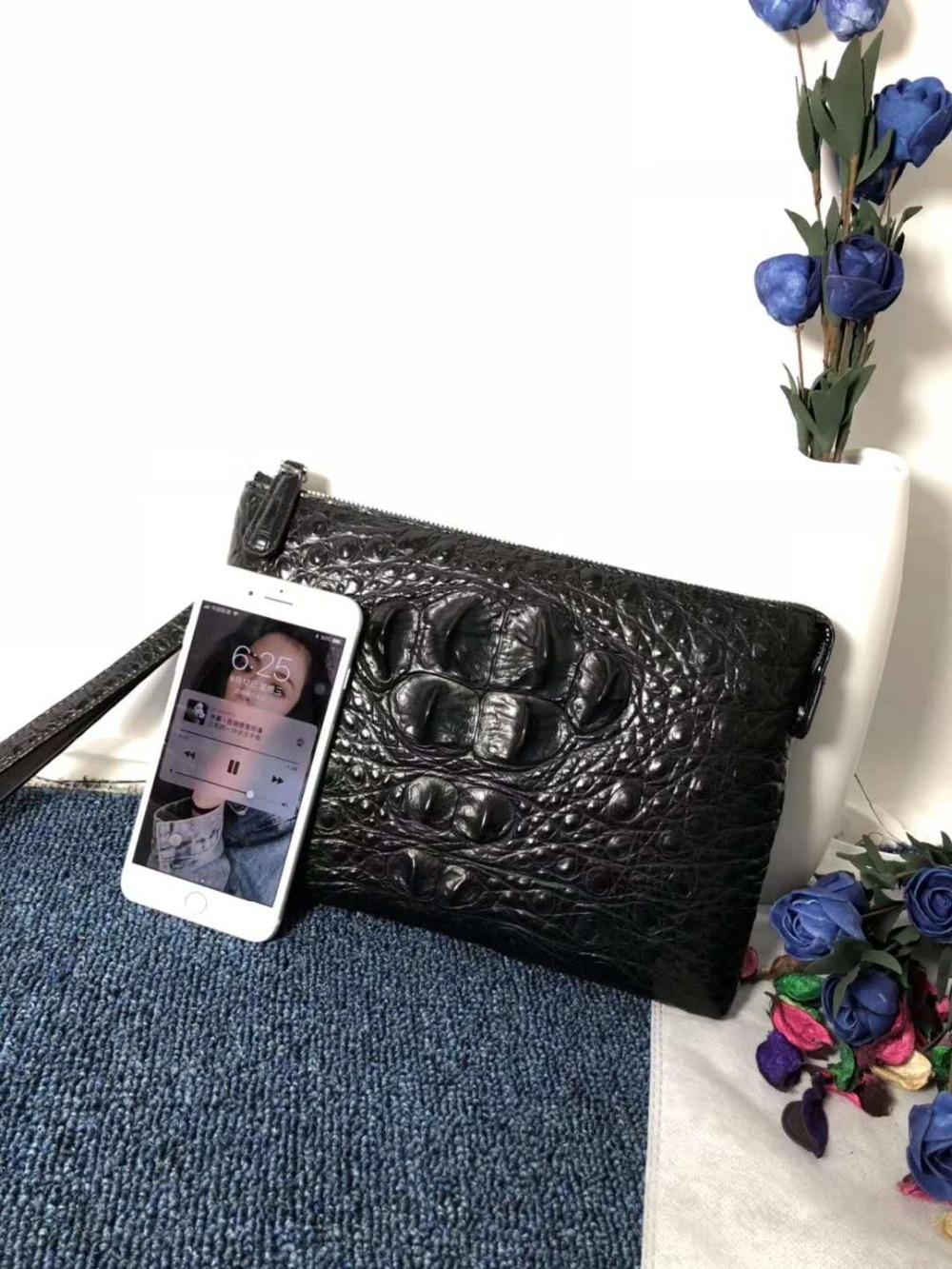 Kupplung Kopf Alligator Hervorragende Krokodil Halter Und Qualität Leder Brieftasche Farbe Geldbörse Größe Schwarz Große Echt Haut 100 Männer x8wBFn6qa
