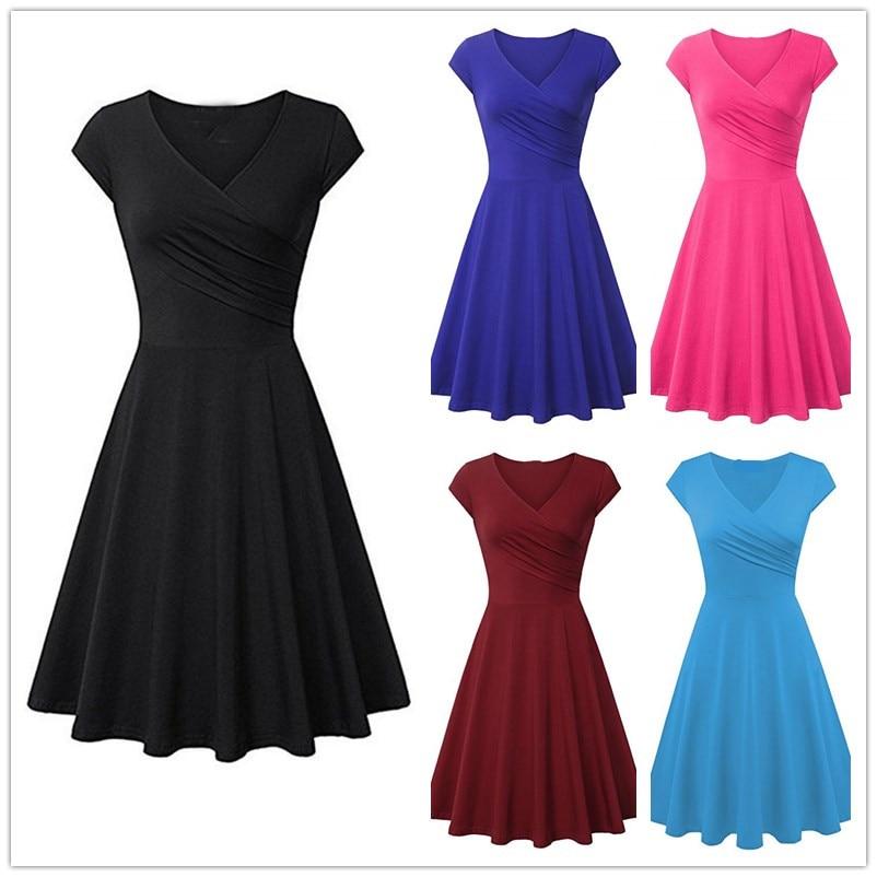 High Quality Fashion Women Clothing Casual Street Short Sleeve Black Blue A-Line Dress Plus Size Summer Cotton Dress Vestidos(China)