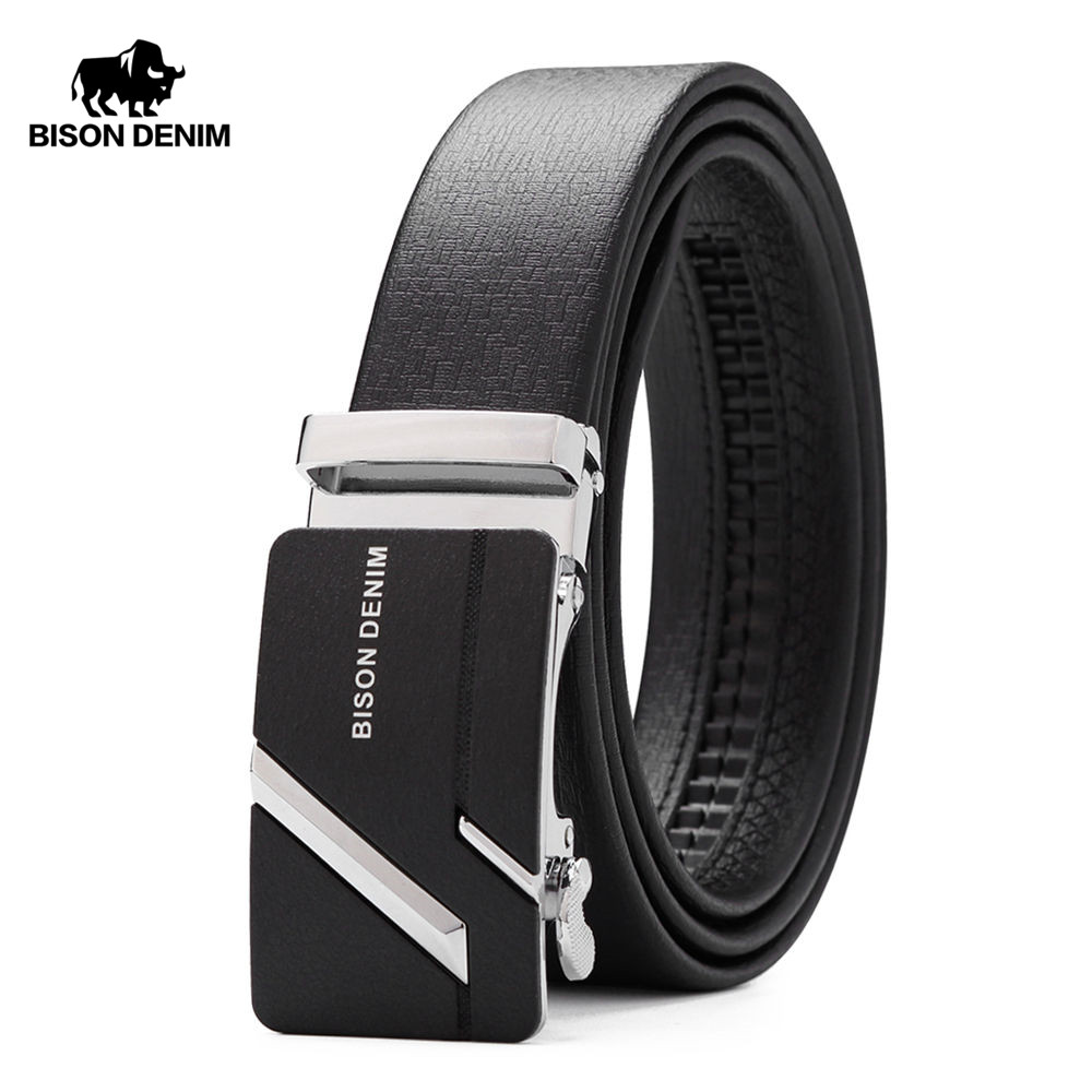 BISON DENIM Men's Genuine Leather Belt Jeans Strap Automatic Buckle Black Belts For Male Gift N71281&N71280